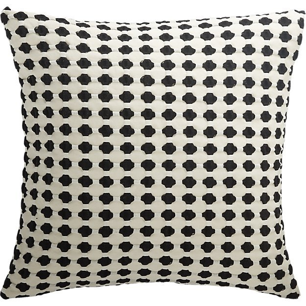 """20"""" Estela Black and White Pillow with Down-Alternative Insert"""