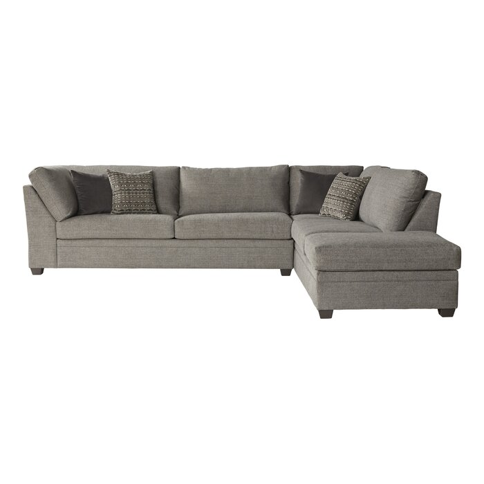 """Perrault 128"""" Wide Sofa & Chaise - Cement - Right Hand Facing"""