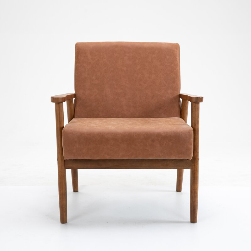 "Mccaleb 29.5"" W Faux Leather Armchair"