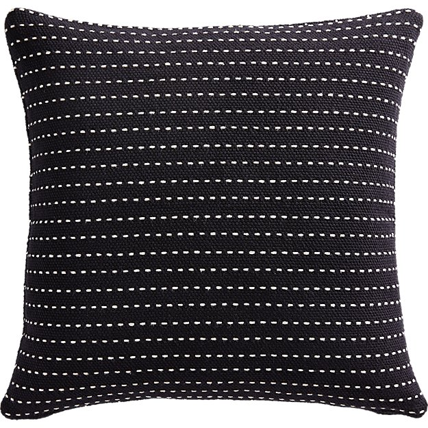 """20"""" CLIQUE BLACK PILLOW WITH DOWN-ALTERNATIVE INSERT"""
