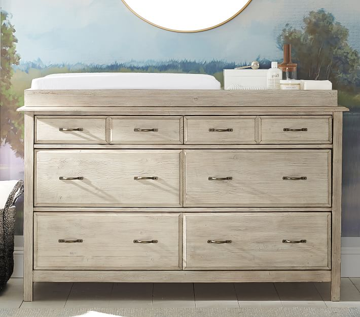 Rory Extra Wide Dresser and Topper Set, Weathered White