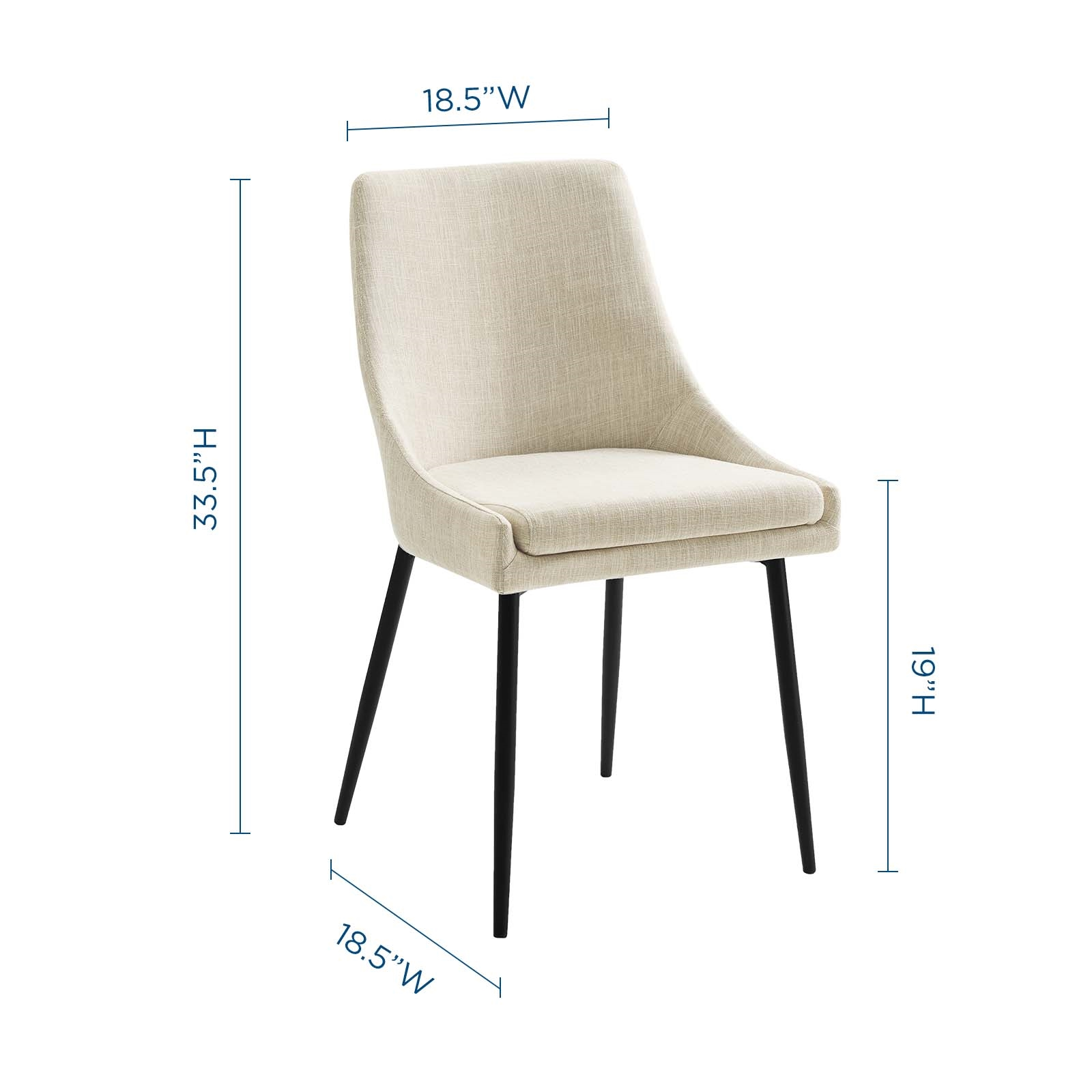 Viscount Upholstered Fabric Dining Chairs - Set of 2 in Black Beige
