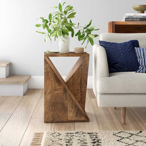 Leilla Solid Wood Abstract End Table