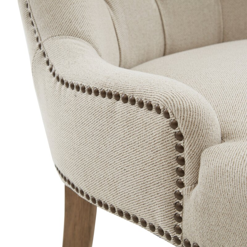 Garnica Tufted Upholstered Wingback Arm Chair in Cream