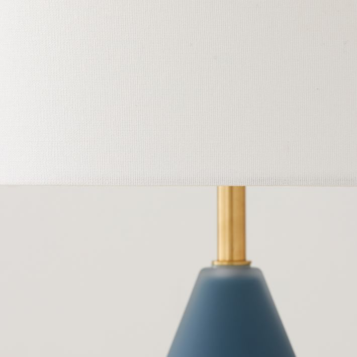 Metalized Glass Table Lamp, Small, Petrol Blue