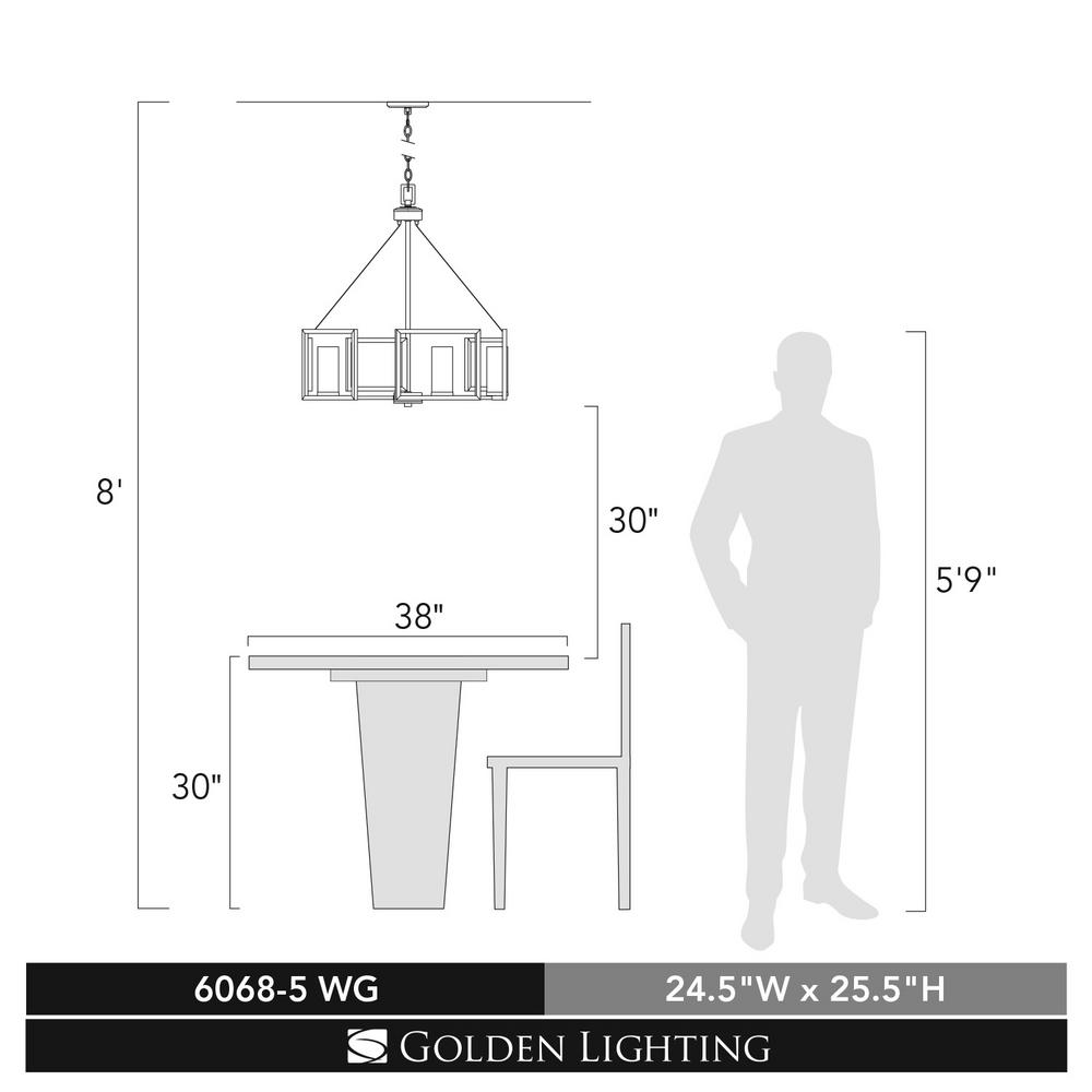 Golden Lighting Marco 5-Light White Gold Chandelier with Clear Glass Shade