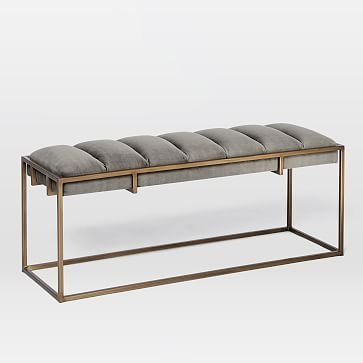 Fontanne Ottoman Bench - Fabric, Gray Washed Velvet