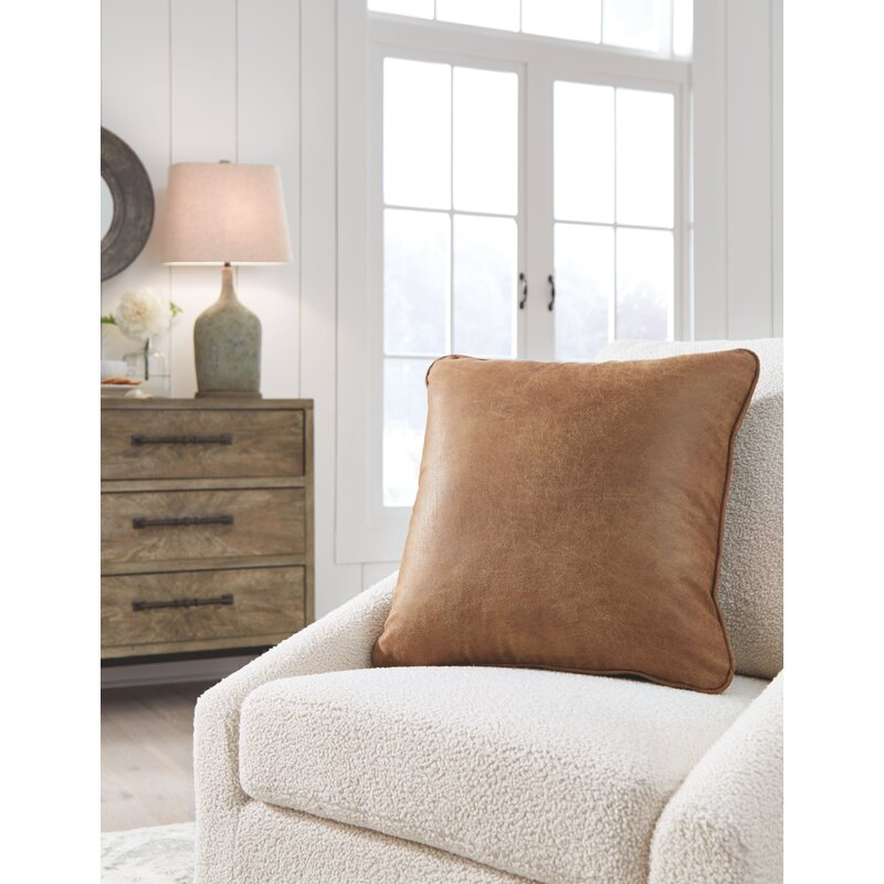 Desoto Square Faux Leather Pillow Cover and Insert RESTOCK IN APR 7,2021.