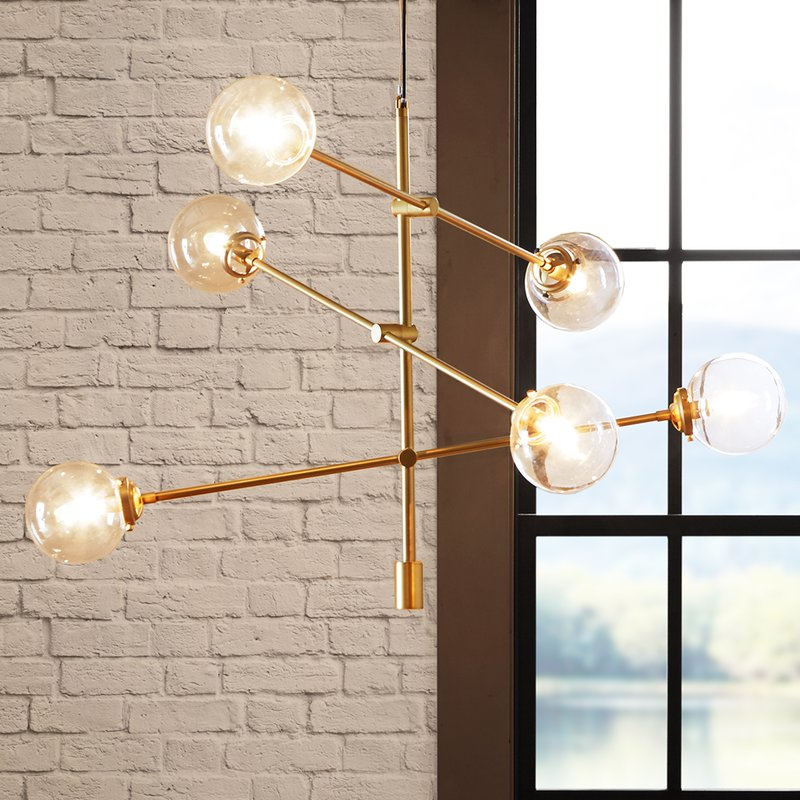 Bensley Antique 6-Light Sputnik Chandelier, Gold