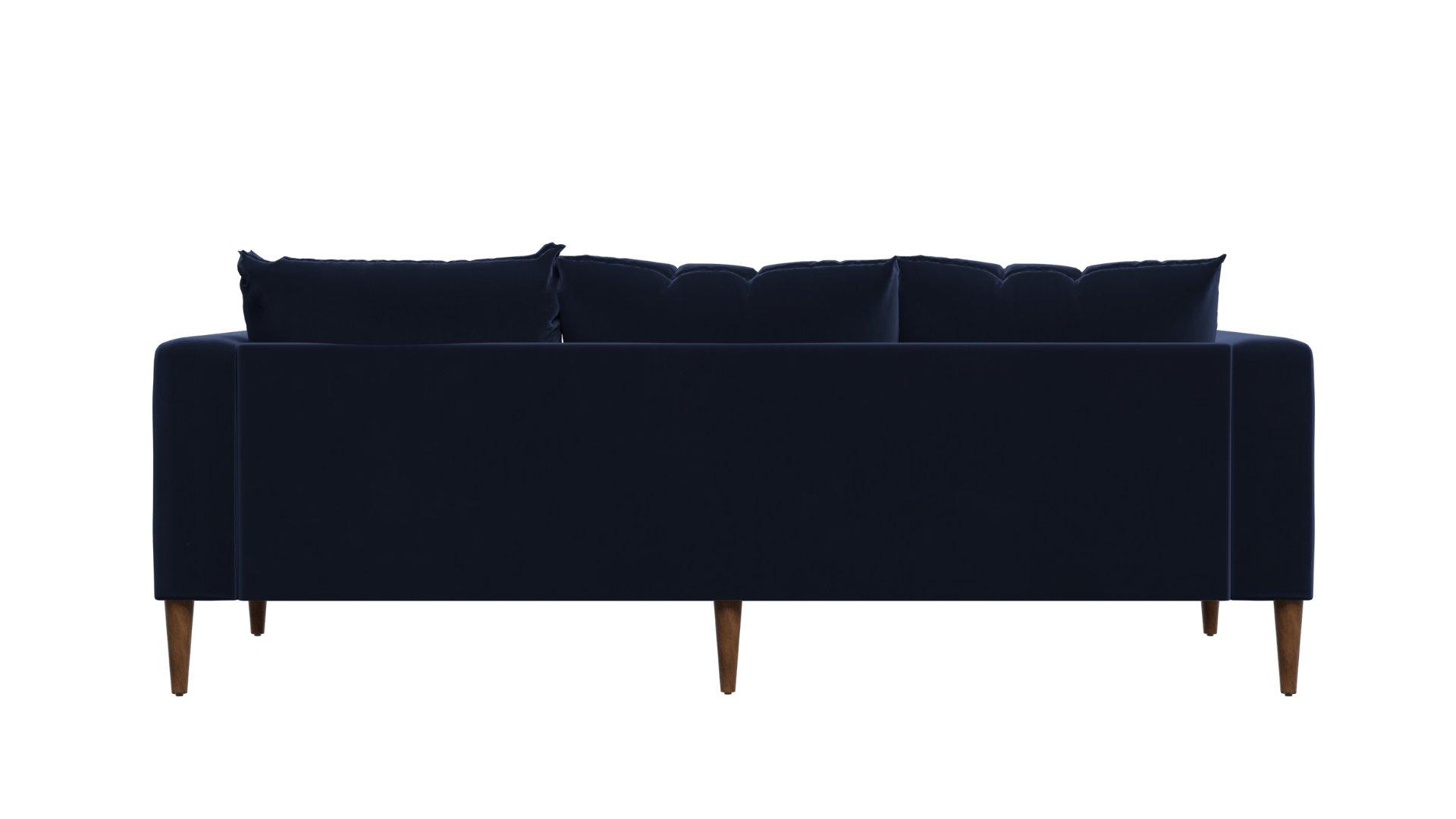 The Essential Sofa, Indigo Recycled Velvet, Dark Brown Legs, Single Cushion