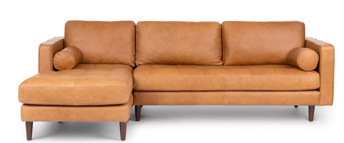 Sven Left Sectional Sofa, Charme Tan