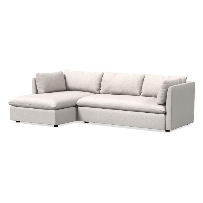 Shelter Sectional Set 05: Right Arm Sofa, Left Arm Chaise, Performance Coastal Linen, Stone White