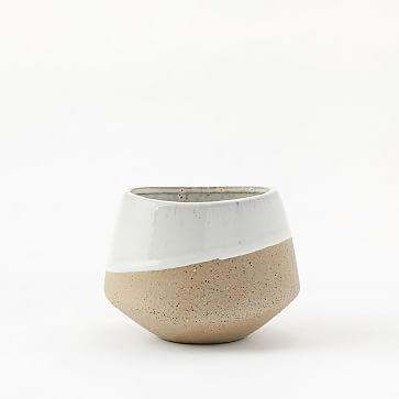 "Half-Dipped Stoneware Vase, Grey/White, Bowl, 4.75"""