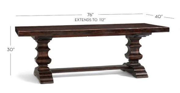 "Banks Extending Rectangular Dining Table, Medium 76"" - 112"" L, Alfresco Brown"