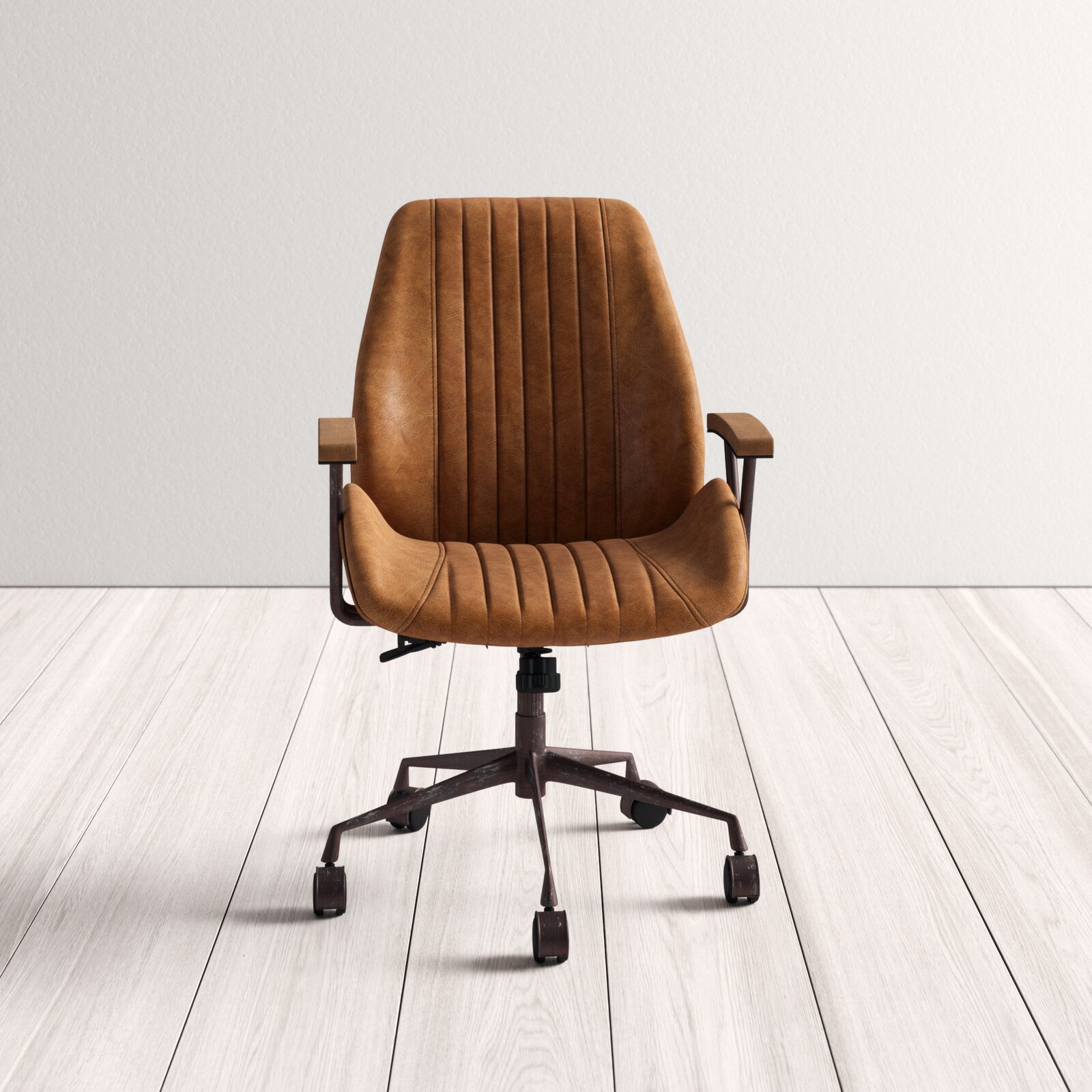 Leonardo Genuine Leather Task Chair - Coffee Leather