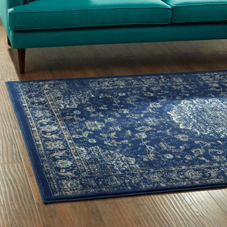 LILJA DISTRESSED VINTAGE PERSIAN MEDALLION 5X8 AREA RUG IN MOROCCAN BLUE, BEIGE AND IVORY