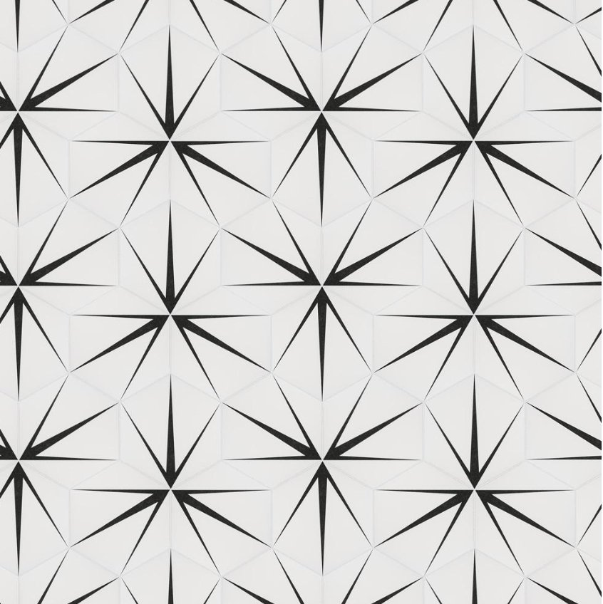 Merola Tile Trident Hex Blanco Encaustic 8-5/8 in. x 9-7/8 in. Porcelain Floor and Wall Tile (11.19 sq. ft. / case), White And Black/Medium Sheen