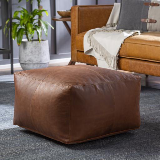 Fiske Leather Pouf