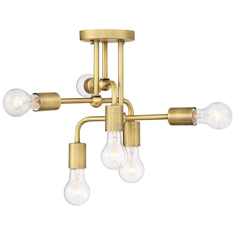 "Possini Euro Kerman 13""W Six-Light Brass Ceiling Light"