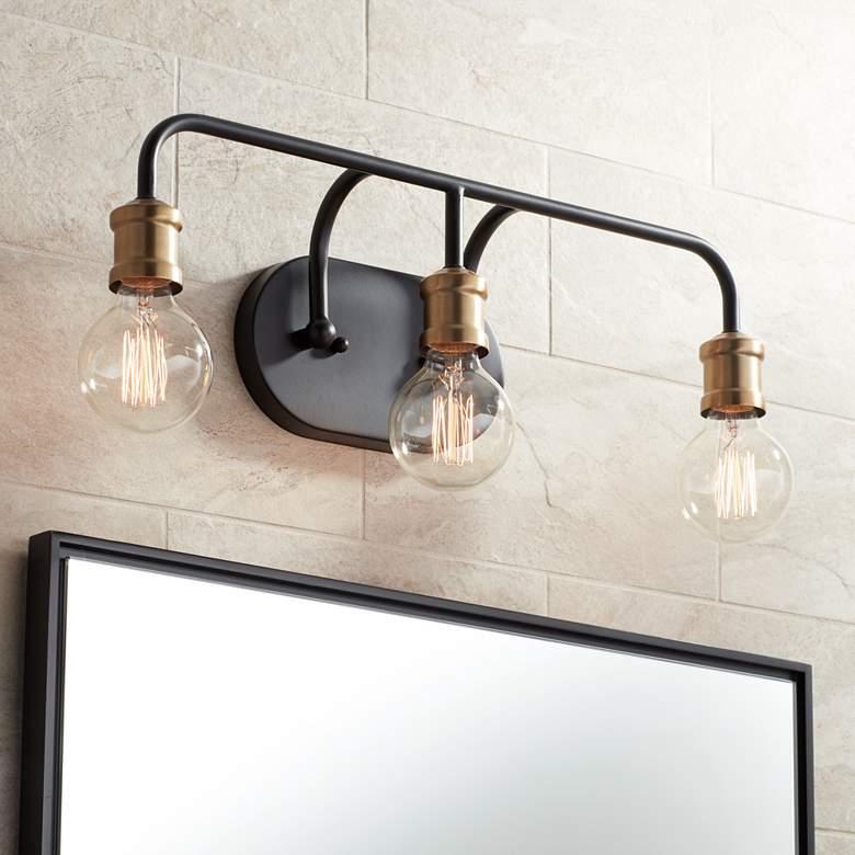 "Possini Euro Aras 20""W Black and Brass 3-Light Bath Light"