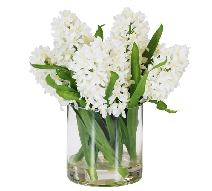 Faux Hyacinth in Cylinder Glass - White