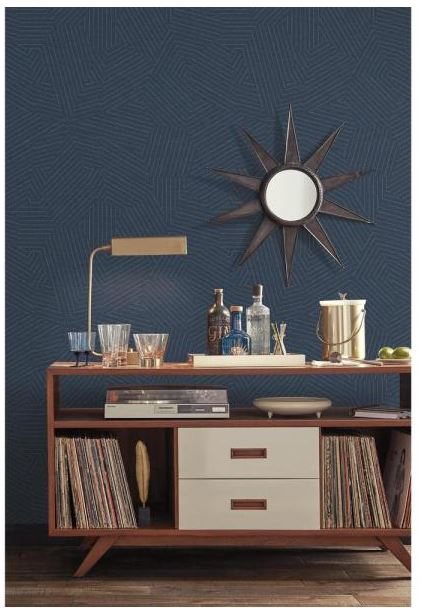 York Wallcoverings Stitched Prism Wallpaper, Blue