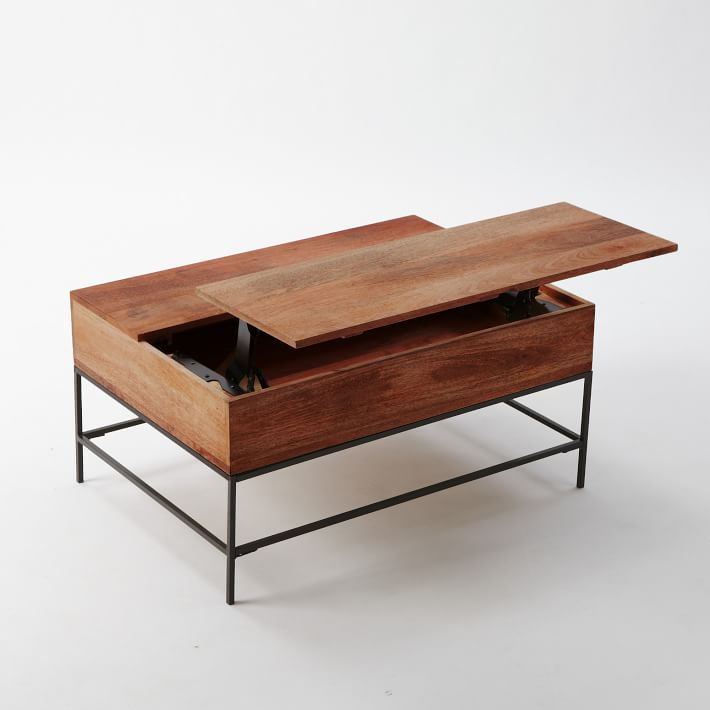 """Industrial Storage Coffee Table, 50""""x26"""",Mango Wood + Metal"""