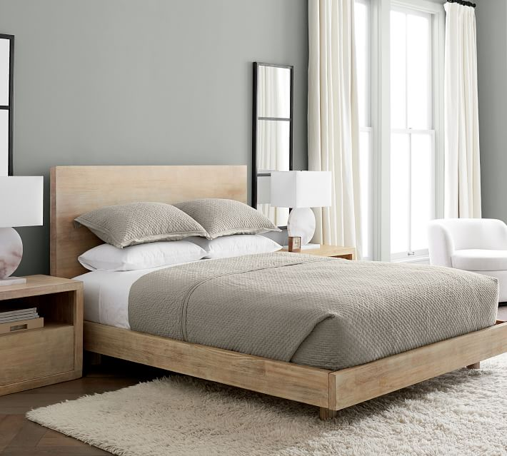 Cayman Platform Bed & Headboard, King - Biscotti