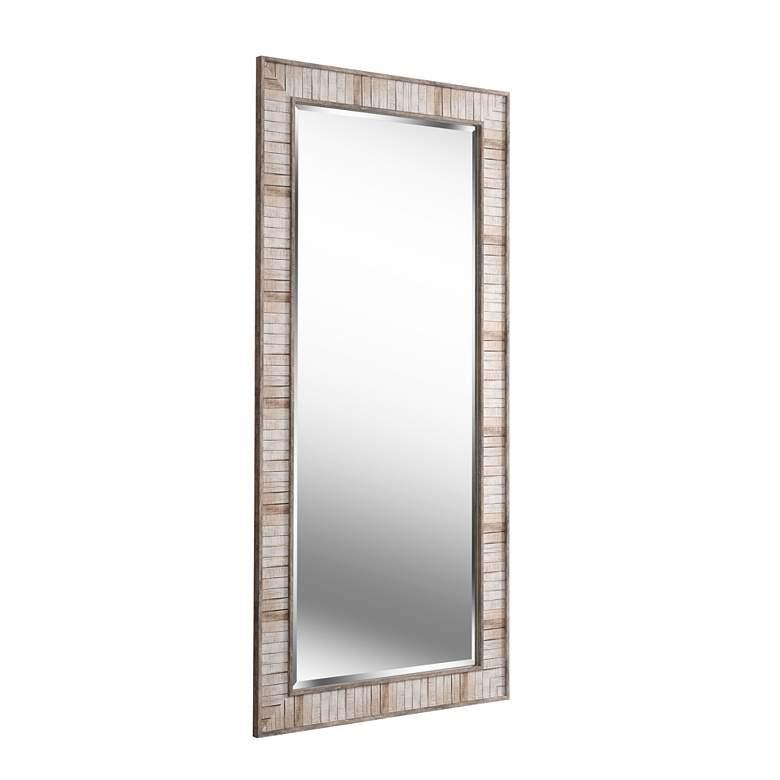 "Kenroy Home Estaba Light Wood 31 1/2 x 65 1/2"" Floor Mirror - Style # 83M38"