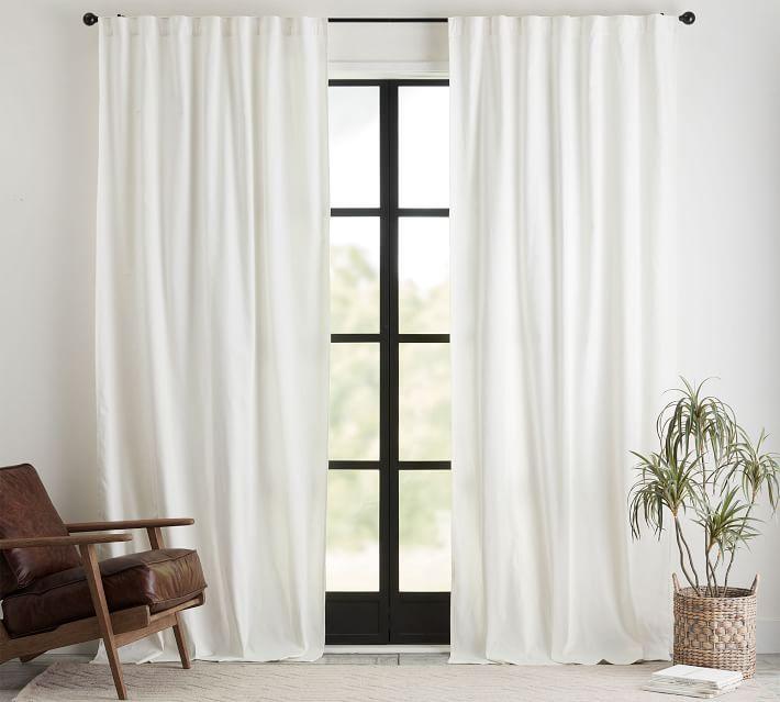 "Broadway Pole-Pocket Curtain, Set of 2, 50 x 108"", Ivory"