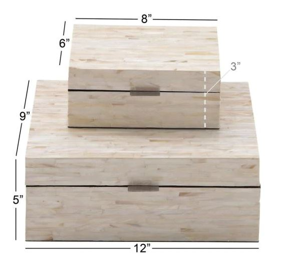 Multiple Decorative Boxes with Off-White and Tan Rectangular Mother of Pearl Tile Inlay (Set of 2)