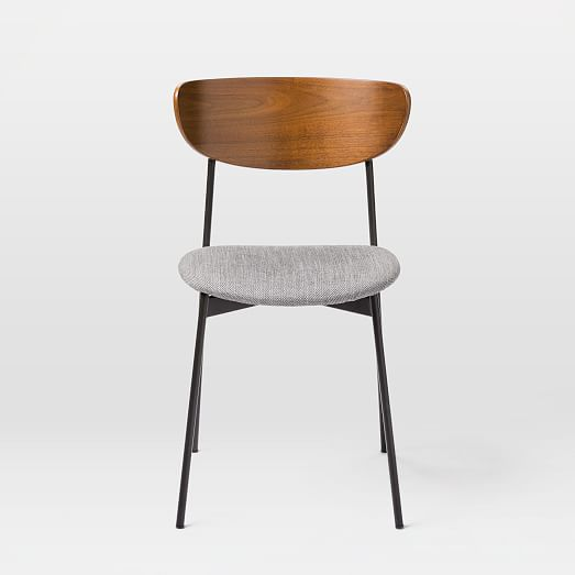 Modern Petal Upholstered Dining Chair, Basket Slub, Platinum, Antique Bronze