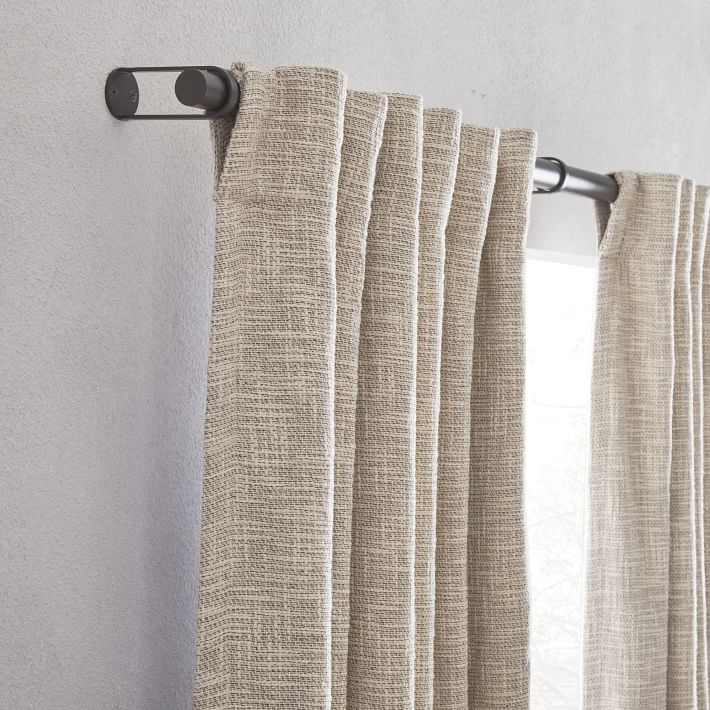 """Textured Weave Curtain + Blackout Panel, Ivory, 48""""x96"""""""