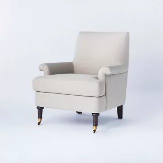 Mercer Rolled Upholstered Arm Chair With Casters Knocked Down Light Brown Threshold Designed With Studio Mcgee Target