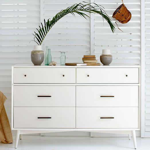 Mid-Century 6-Drawer Dresser, White