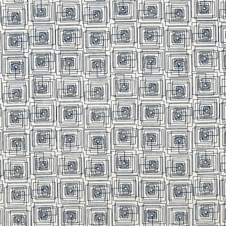 "Rives Blue Geometric Curtain Panel 50""x96"""