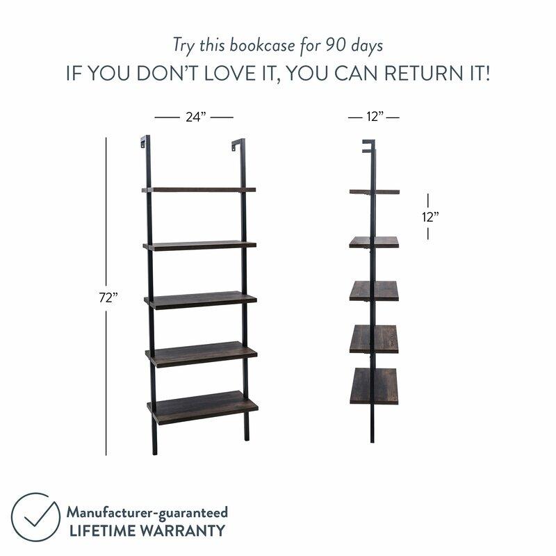 Zachary 72.5'' H x 24'' W Steel Ladder Bookcase