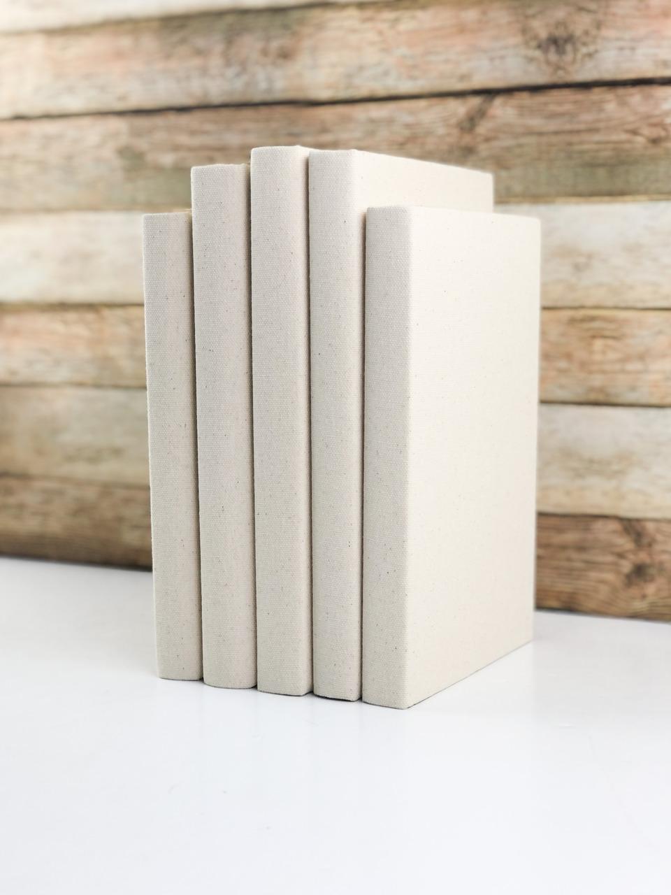 Decorative Books, Solid Cream, Set of 3