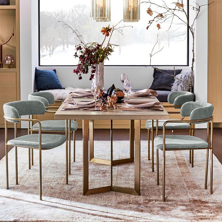 Lenox Dining Chair, Distressed Velvet, Mineral Gray, Blackened Brass