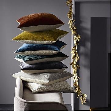 """Lush Velvet Pillow Cover, 20""""x20"""", Wasabi"""