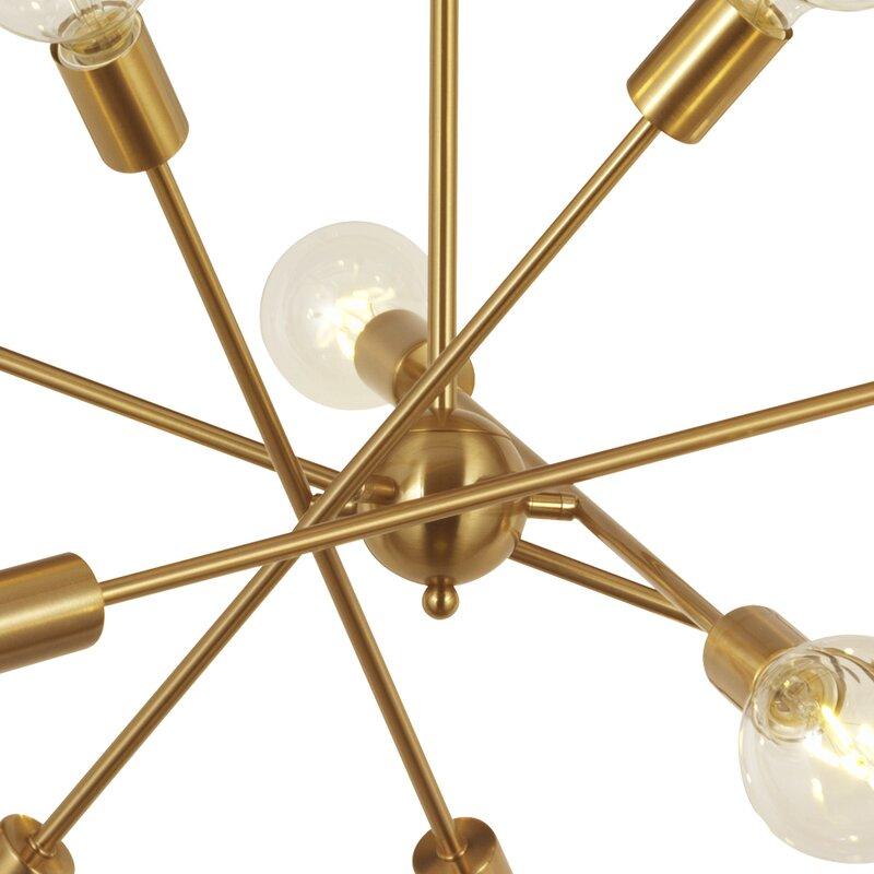 10-Light Sputnik Chandelier Brass Pendant Lighting