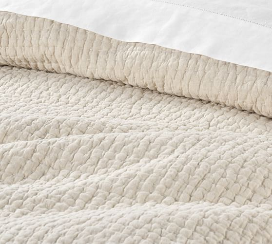 Pick-Stitch Handcrafted Quilt, king, Flax