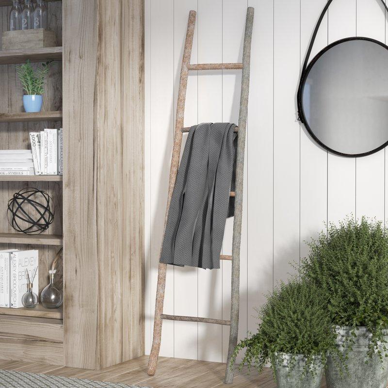 Wood White Washed 5.5 ft Decorative Ladder