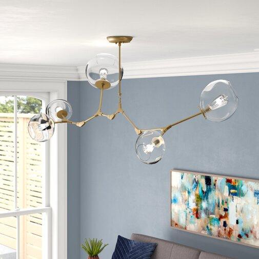 Grier 5-Light Sputnik Modern Linear Chandelier