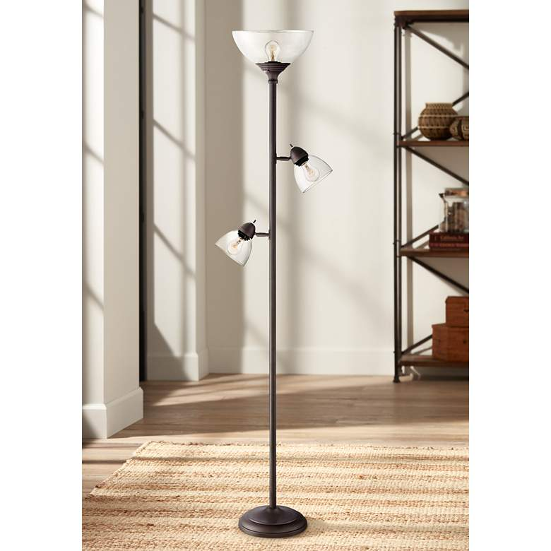 Riley Bronze 3-Light Tree Torchiere Floor Lamp - Style # 32Y86