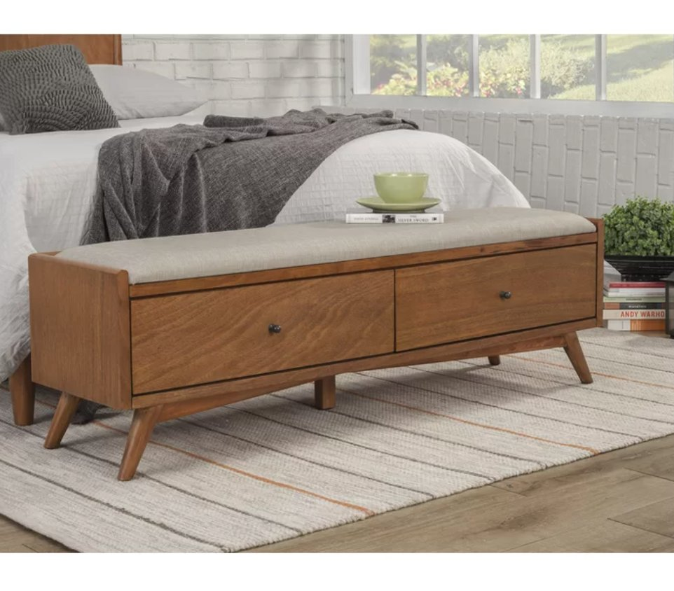 Williams Upholstered Solid Wood Drawer Storage Bench
