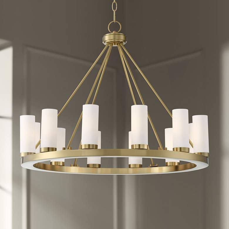 "Tila 29 1/2"" Wide French Brass and Glass 12-Light Chandelier"
