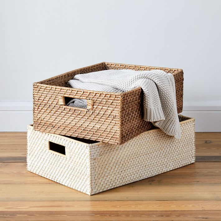 Modern Weave, Underbed Basket, Natural, Without Handles