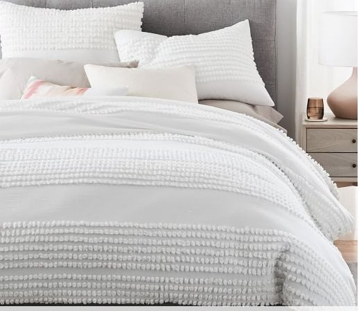 Candlewick Duvet Cover, King, Stone White