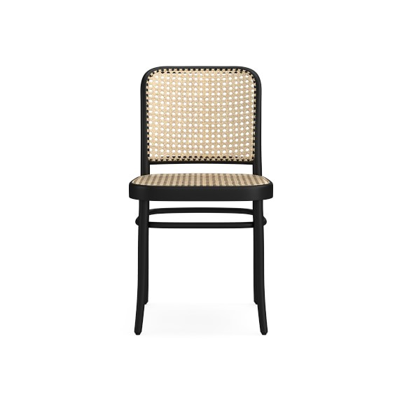 Ton #811 Dining Side Chair w/ Natural Cane Seat/Back, Black Grain